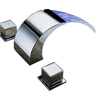 azos Badezimmer Vanity Waschbecken Wasserhahn 3-Loch 2Griffe breitgefächert Messing Chrom mpsk002cf, Chrome with LED