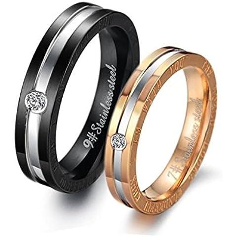 Bishilin Acciaio Inossidabile Bicolor Anello Solitario Anelli Matrimonio Coppia(Prezzo per 1pc) - 1 Anello Placcato Oro Bello