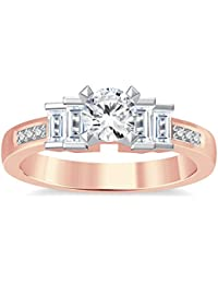 Silvernshine 1.35Ct Round & Buget Cut Clear Sim Dimoands 14K Rose Gold Plated Engagement Ring