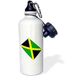 3dRose Jamaican Flag Sports Water Bottle, 21 oz, White