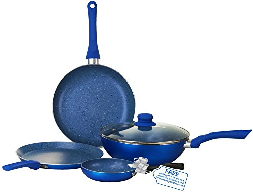 Wonderchef Royal Velvet Induction Base Aluminium Cookware Set With Free Mini Frying Pan, 4-Pieces, Blue