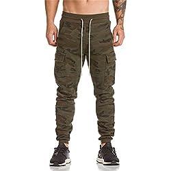 DEELIN Hommes Automne Hiver Harem Pantalon De Jogging Quotidien Casual Camouflage Jogger Sport Baggy Pantalon De Course Kaki Noir