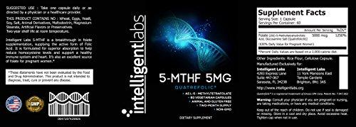 5MG L-5 MTHF By Intelligent Labs, L-5-methyltetrahydrofolate Activated Folic Acid Supplement as Quatrefolic Acid® Acitvated Folate.