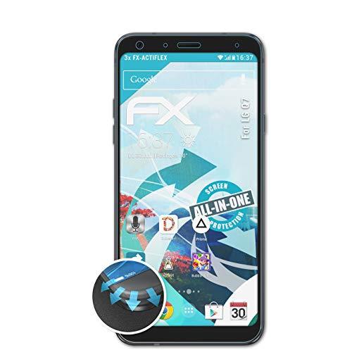 atFolix Schutzfolie passend für LG Q7 Folie, ultraklare & Flexible FX Bildschirmschutzfolie (3X)