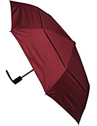 C&C LONDON - Paraguas Compacto - RESISTENTE Al Viento - Toldo Ventilado - ALTA TECNOLOGÍA PARA COMBATIR POSIBLES DAÑOS - Apertura y Cierre Automático - Pequeño - Plegable - Toldo Rojo Burdeos - Viaje