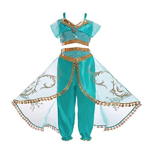 FStory&Winyee Mädchen Prinzessin Kostüm Jasmine Bauchfrei Kinder Outfit Aladdin Hose Kinder Cosplay Kleider Set Karneval Verkleidung Party Faschingkostüm für Mädchen 110-150 3-11 ()