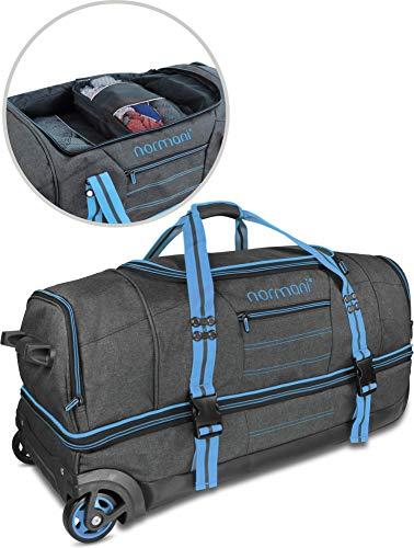 """normani Trolley Reisetasche \""""Kompass\"""" (90 oder 120 Liter) mit 5 passenden Kleidertaschen/Packtaschen Farbe Blau Größe 120 Liter"""