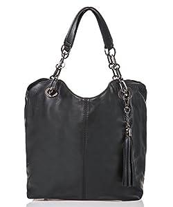italienische Damen Handtasche Prag aus echtem Leder in schwarz, Made in Italy, Shopper Bag 42x28 cm
