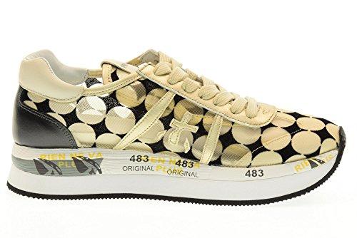 PREMIATA scarpe donna sneakers basse CONNY 1926 Platino-nero