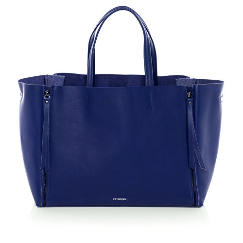 """FEYNSINN® Handtasche mit langen Henkeln JAX ZIP - Damen Schultertasche groß Ledertasche fit für 13 """" Zoll Laptop, iPad - Handtasche Damentasche echt Leder indigo"""