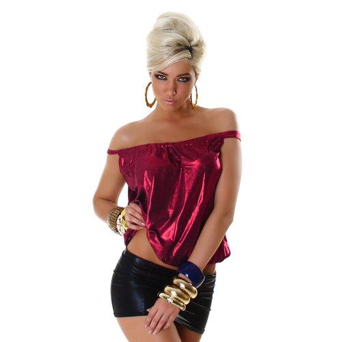 Top Shirt Trägertop Leder-Wet-Look Einheitsgr. 36,38,40,42 - Pink