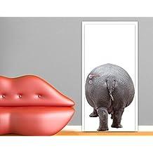 Fotomurale adhesivo para puertas Hippo Is Going Home, Größe:L - 106x221cm;Größe:0cm x 0cm