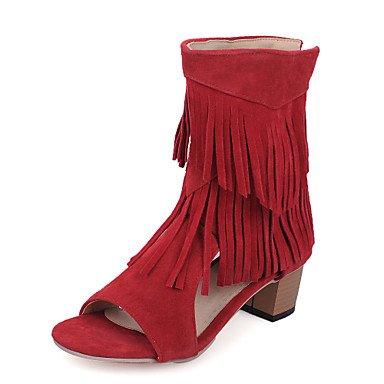 Sandali da donna Primavera Estate Comfort in pelle taffettata Casual Chunky Tacco nappa Walking Ruby