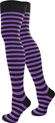 men Karneval Kostüm Fasching Baumwoll-Overknees Blickdicht Halterlose Strümpfe mit Streifen Farbe Schwarz/Lila Größe 3 Paar ()