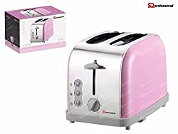 SQ Professional Pink: SQ Pro Legacy 900W Toaster with Reheat, Defrost and Cancel Functions in Light Blue, Pink, Mint Green, Black, Silver, Red and Purple Colors (Pink)