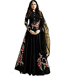 Style Amaze Women's Black Color Embroidered Party Wear Anarkali Suit