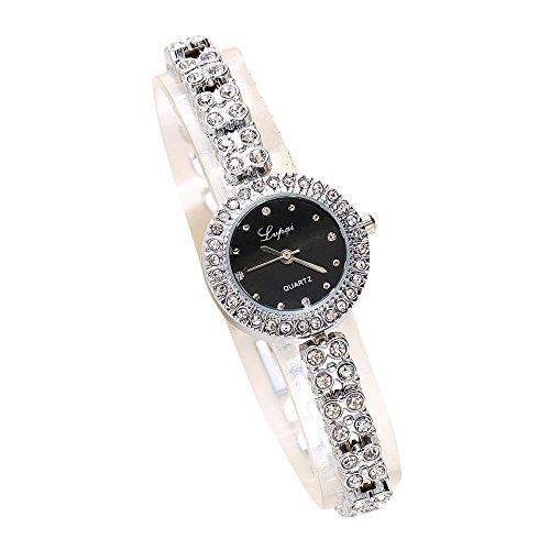 Armbanduhr Damen Ronamick Mode Damen Damen Unisex Edelstahl Strass Quarz Armbanduhr Armband Armbanduhr Uhr Uhren(D)