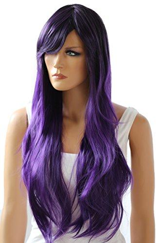Prettyshop parrucca da donna fashion lunga hair ricci ondulati wavy resistente al calore mix viola # 2t3750 wp102