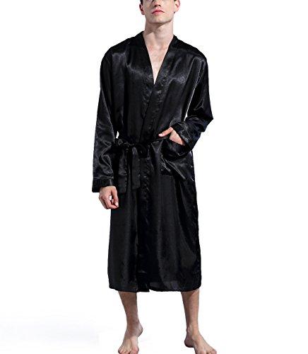 Preisvergleich Produktbild Hammia Herren Morgenmantel Bademantel Lang Satin Nachtwäsche Kimono Sleepwear Satin Robe V Ausschnitt mit Gürtel