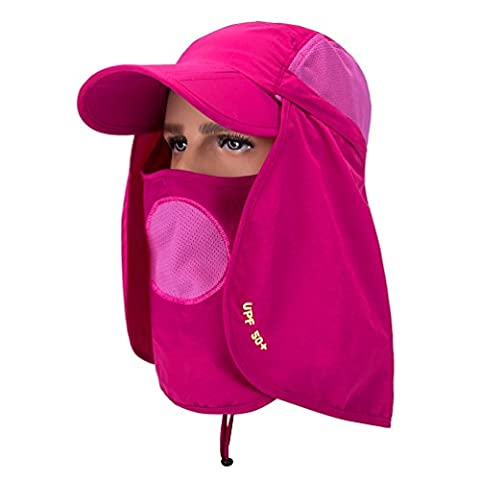 GADIEMENSS Folding Fishing Hat and Mask Face Cap Quick Dry Sun Hat Neck Protector Cap Baseball Protection UPF 50+ UV Protection Mask Removable for Women Men Cap Hat Rose Red