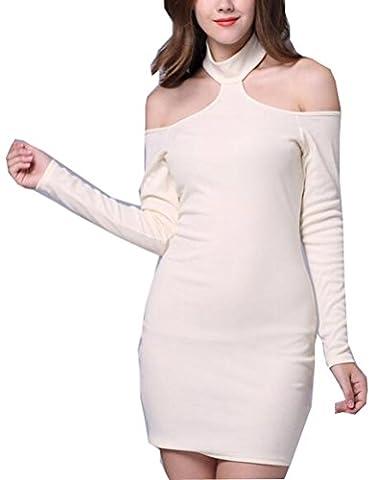 SunIfSnow - Chemise de nuit spécial grossesse - Moulante - Uni - Manches Longues - Femme blanc blanc S