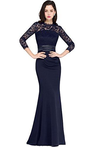 MisShow Damen Abendkleider elegant für Hochzeit mit 3/4 Arm Etuikleider Cocktailkleider Navyblau...