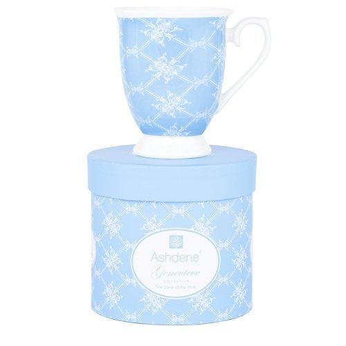 Ashdene flowers - Genevieve - diamond blue - Fine Bone China Cup Mug Porzellantasse Tasse Becher tazza taza 11cm 300ml, Gift box, best quality ASHDENE, Australia Blue Fine Bone China