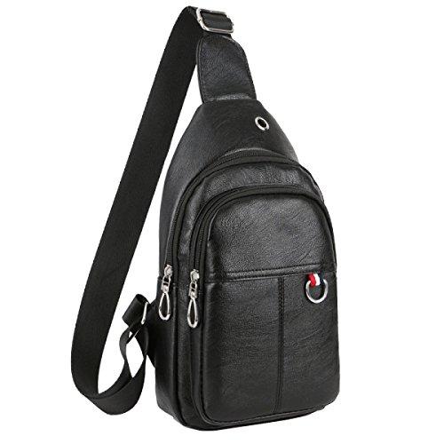 Yy.f Echte Männer PU-Beutel Kurierbeutel Reiten Brusttasche Reisetasche Kopfhörer Rucksäcke Kasse Solides Paket Black