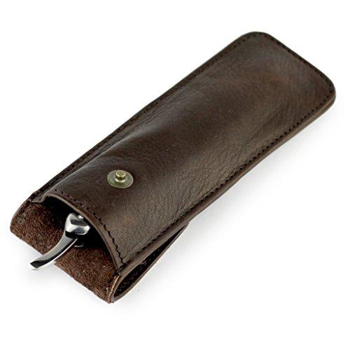 A.P. Donovan - Ledertasche für Rasierutensilien - für Rasierhobel + Rasiermesser + Rasierpinsel - praktisch für die Reise - Aufbewahrungs-Etui - Braun, 20cm x 14cm x 14cm Braun