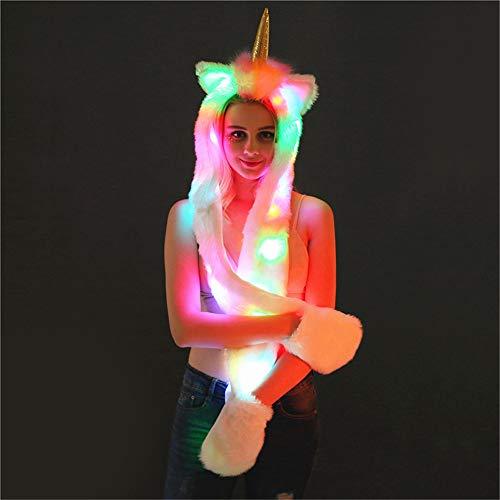 ZQ LED Einhorn Mütze Schal Handschuhe warm leuchten Kapuze Faur Fell Cosplay Headwear mit Coloful - Einhorn Kostüm Rave