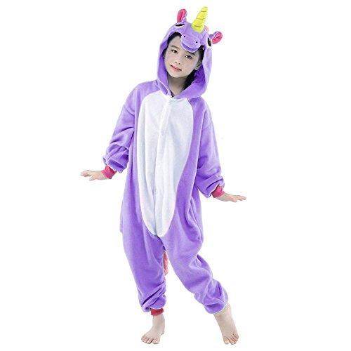 Kinder Pyjamas Tier Einhorn Jumpsuit Nachtwäsche Unisex Cosplay Kostüm für Mädchen und Jungen (105/Größe:115-125cm, (Kostüme Eichhörnchen Für Kinder)