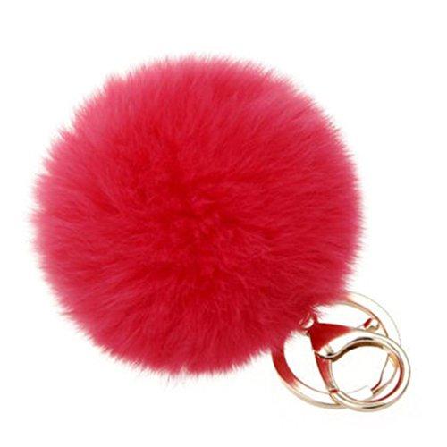Koly_Pelliccia del coniglio sfera di metallo del sacchetto di Keychain chiave peluche pendente dell'anello chiave auto