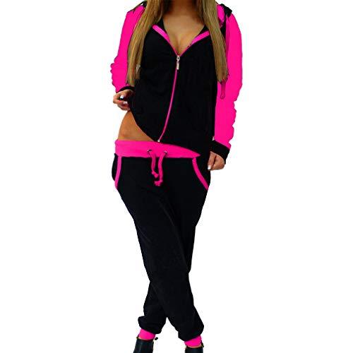 Hibote 2 Stück Set Damen Sportbekleidung Anzüge Sport Anzug Sexy Sweatshirts Hosen Lose Trainingsanzüge Rose XL