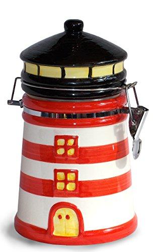 Unbekannt Maritimshop 54400 - Kaffeedose Leuchtturm, Rot Weiß, für 500g Kaffee