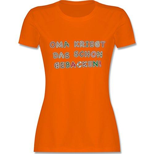 Oma Oma kriegt das schon gebacken tailliertes Premium TShirt mit  Rundhalsausschnitt für Damen Orange