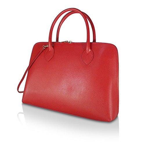 Gloop Klassisch Elegant Damen Echtleder Handtasche Umhängetaschen Schultertasche Made in Italy 1.004.1 Rot