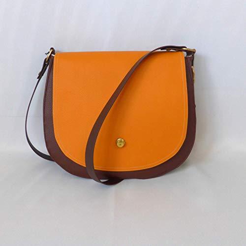 Schultertasche Handtasche Tasche crossbody Satteltasche Damen braun mango Papaya orange gold retro, von wagnerstrasse -