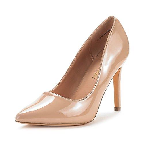 DREAM PAIRS Zapatos Tacón Alto Pump Mujer Desnudo