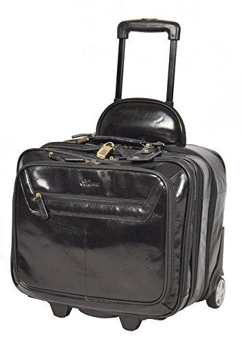 Echtes Leder Pilotenkoffer auf Räder Flug Arbeit Laptop Trolley Kabine Tasche HLG891 Schwarz -