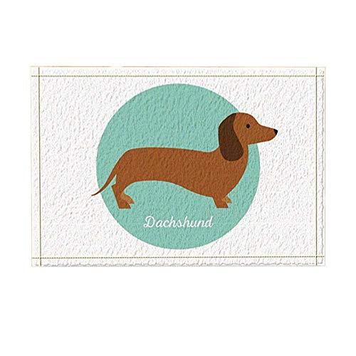 Aliyz Cartoon Hund Dekoration, EIN schöner Dackel in Blau Badteppich für Badezimmer, Rutschfeste Bodeneingänge draußen, drinnen und draußen, 39,9 x 59,9 cm (Multi2)