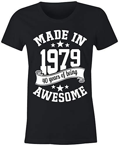 6TN Mujer Hecho en 1979 40 Years of Being Sorprendente 40 Cumpleaños Camiseta - Negro, L