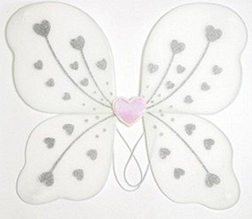 Weiße Glitzer Feen Flügel mit Herz Design zum (Weiße Feenflügel)