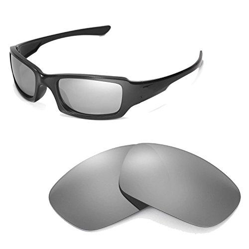 Walleva Ersatzgläser für Oakley Fives Squared Sonnenbrille-Mehrfache Optionen (Titanium Mirror Coated - Polarisiert)