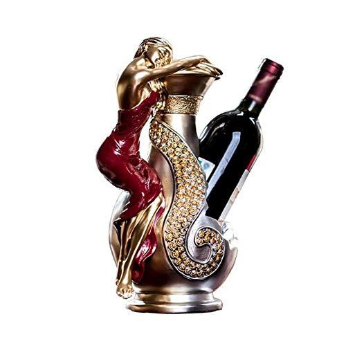LSY Dekorative Weinflaschenhalter-Tischplatte Freistehende Einzelflasche Weinregalständer, Heimtextilien, Premium-Harz, 32 × 20 × 15 cm,Kreativ,Weinregal -