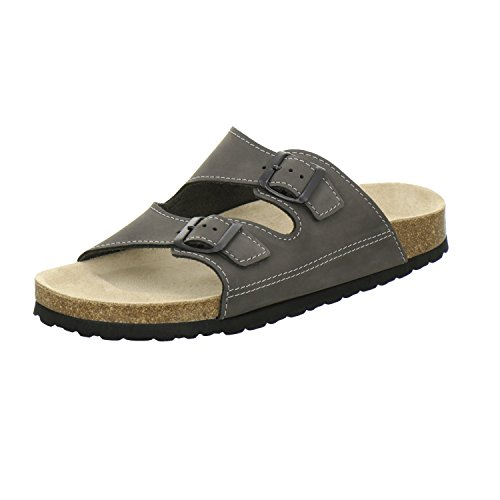 AFS-Schuhe 3110, sportliche Herren-Pantoletten, praktische Arbeitsschuhe, hochwertiges, echtes Leder, verstellbare Bio-Pantoletten, bequeme Hausschuhe, Made in Germany Stone