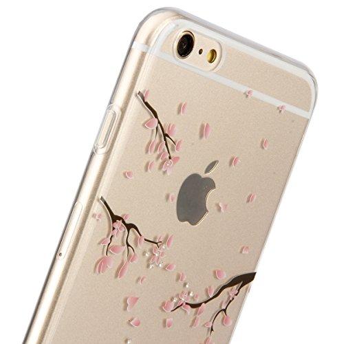 Custodia per iPhone 6/iPhone 6s (4.7), EUWLY iPhone 6/iPhone 6s (4.7) Trasparente Silicone Cover, EUWLY Brillantini Glitter Diamante TPU Case Caso Belle Fiore Cristalli Chiaro Crystal Clear Morbida  Fiori di Ciliegio