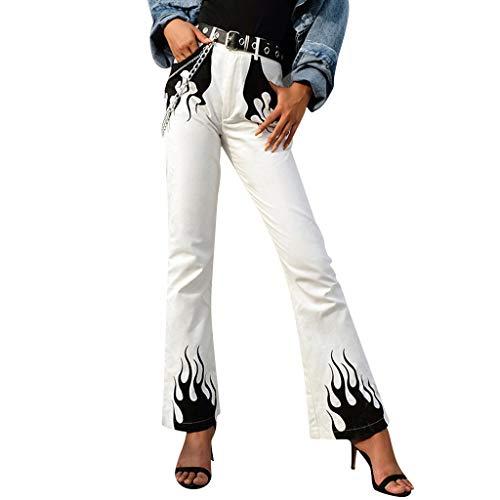 Yanhoo Fashion Womens weites Bein Tasche Flamme gedruckt Reißverschluss Knopf ausgestellte Hosen Hosen Damen Flame Print Weite Hose Hohe Taille Freizeithose -