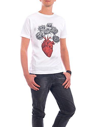"""Design T-Shirt Männer Continental Cotton """"Heart with peonies"""" - stylisches Shirt Typografie Floral Natur von Valeriya Korenkova Weiß"""
