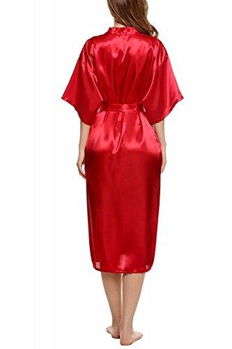 Dolamen Damen Morgenmantel Kimono, Luxuriös glatte Satin Nachtwäsche Bademantel Robe Kimono Negligee Seidenrobe locker Schlafanzug, Langer Stil Rot