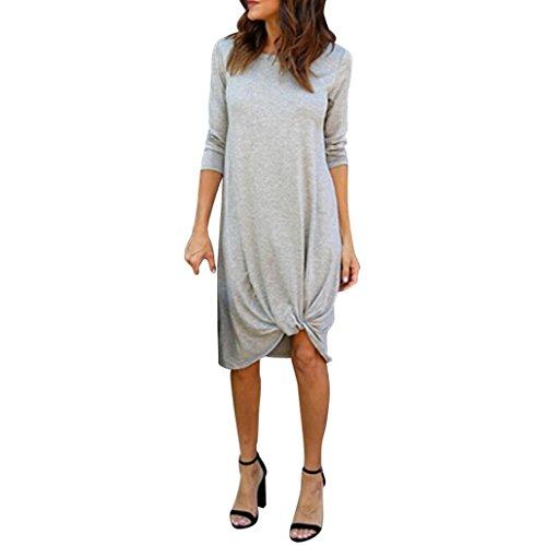 ZEZKT-Fashion Damen Casual Langes Shirt   Langarm T-Shirt Kleid   Lässige Festkleider Herbst...